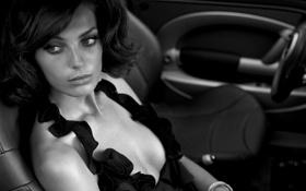 Обои Девушка, фотография, черно белое, авто