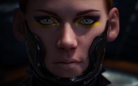Картинка глаза, лицо, арт, фантастика, девушка, stephen erik schirle, взгляд