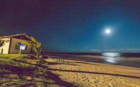Картинка море, пляж, ночь, дом, лунный свет, Бразилия, Баия