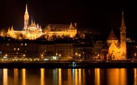 Картинка река, Дунай, Будапешт, ночь, Венгрия, огни, дома
