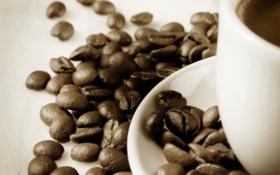 Обои кофе, зерна, чашка, блюдце