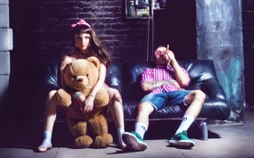 Картинка сигара, парень, T-SHIRT, девушка, COSMOSTARS, медведь
