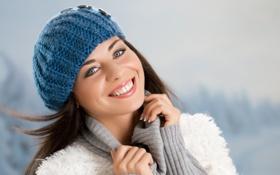 Картинка девушка, улыбка, шатенка, шапочка
