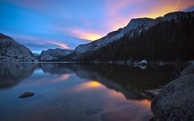 Обои горы, рассвет, california, Tenaya Lake