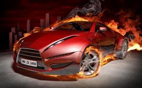 Картинка авто, город, огонь, пламя, обои, графика, Машина
