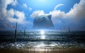 Картинка песок, море, облака, птицы, блики, корабль, планета