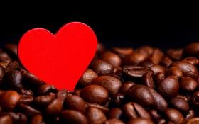 Обои красное, сердце, кофе, зерна, сердечко