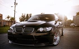 Картинка солнце, отражение, чёрный, бмв, BMW, black, блик