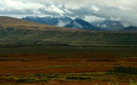 Обои осень, облака, горы, растительность, цвет, долина