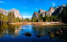 Картинка лес, горы, природа, река, камни, Yosemite, National park