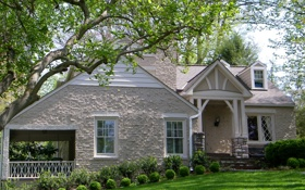 Картинка дизайн, ветки, зелень, дом, листья, особняк, деревья