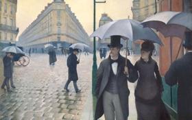 Обои люди, улица, здания, картина, зонты, Gustave Caillebotte, Парижская улица в дождливую погоду