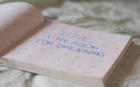 Обои настроение, кровать, книга, слова, love a reason for breathing