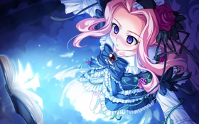 Картинка девушка, платье, длинные волосы, лоли, розовые волосы, пурпурные глаза, taiyo no puromia
