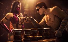 Обои игра, mortal kombat, Mileena, Johnny Cage