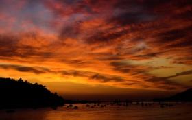 Картинка закат, корабли, бухта, яхты, залив, Sunset at Conwy
