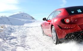 Обои зима, дорога, car, машина, небо, снег, road