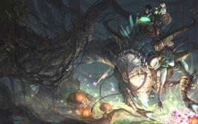 Картинка существо, лес, фэнтези, тыквы, ветви, арт, верхом