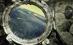Картинка полет, рендеринг, земля, окно, илюминатор