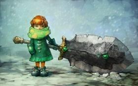 Обои зима, снег, меч, шарф, Девочка, рукавички
