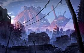 Картинка город, апокалипсис, дома, Romantically Apocalyptic, alexiuss, zee captain, руин