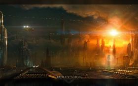 Картинка космос, город, будущее, планета, hadleys hope