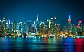 Обои ночь, город, огни, небоскребы, панорама, skyline, WTC