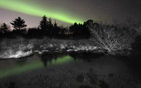 Обои ночь, природа, озеро, сияние