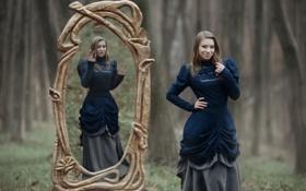 Обои девушка, зеркало, арт, Astral Prison