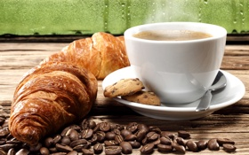 Обои кофе, печенье, кофейные зерна, coffee, круассаны, biscuits, coffee beans