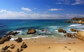 Обои песок, камни, пляж, море