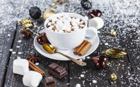 Обои кофе, шоколад, чашка, cup, chocolate, beans, coffee
