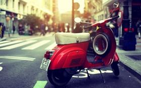 Картинка солнце, мотоцикл, red, sun, красный