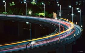 Обои дорога, свет, ночь, мост, огни, выдержка, Китай