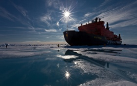 Картинка лед, люди, ледокол