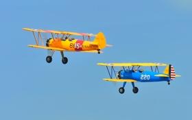 Обои небо, ретро, самолет, парад, биплан