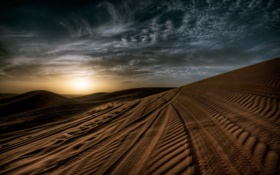 Картинка песок, небо, ночь, следы