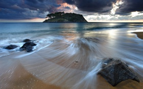 Обои облака, пляж, небо, океан, вода, волны, море