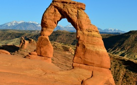 Картинка небо, горы, скала, арка, сша, Arches National Park, uta