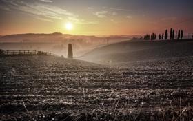 Картинка поле, пейзаж, утро, пашня