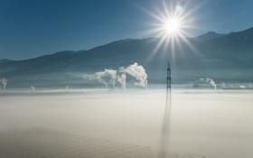 Картинка туман, утро, лэп