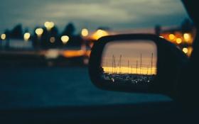 Картинка небо, облака, закат, отражение, яхты, зеркало, сумерки