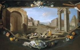 Картинка цветы, город, люди, коллаж, башня, дома, картина