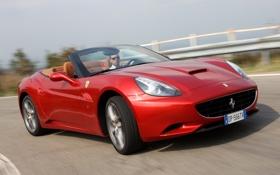Обои авто, трасса, поворот, колёса, Ferrari California