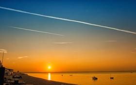 Картинка закат, берег, небо, солнце, море