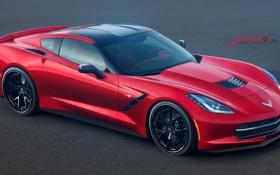 Обои Chevrolet, Jackdarton, Corvette, шевроле, front, red, красный