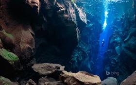 Обои море, камни, скалы, Исландия, дайвер, Silfra, Thingvellir National Park