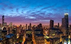 Обои здания, Чикаго, панорама, ночной город, Chicago, небоскрёбы