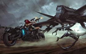 Картинка девушка, оружие, робот, скорость, арт, мотоцикл, стрельба