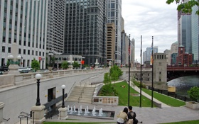 Картинка парк, люди, здания, небоскребы, америка, чикаго, Chicago